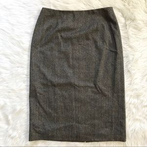 Maxmara Brown Gray Lightweight Wool Pencil Skirt